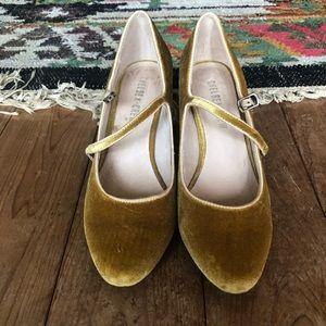 Velvet mustard heels